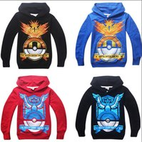 Wholesale Mix styles Kids Poke Hoodies Long Sleeve Boys clothes Hooded sweater Cartoon Pikachu cotton sweater Tops Free express