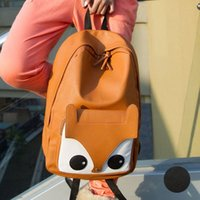 Wholesale New Design Cartoon School Bag Fox Pattern Pu Leather Women Backpack College Student School Book Bag Leisure Backpack