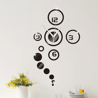 beauty bedroom - New Arrivals Modern D Wall Clock Sticker Home Living Room Decor DIY Acrylic Beauty silver black golden HY1231