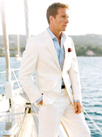 Wholesale White Linen Blazer Custom Made Linen Suit Sharp Look Tailored Groom Suit Bespoke Mens Linen Suits For Wedding Tuxedos For Men