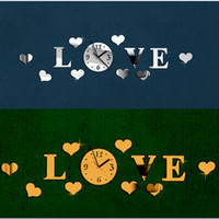 Wholesale LOVE Characters Heart D Acrylic Mirror Clock Watch for Wedding Valentine s Day Decoration Gift Black Silver Gold Wall Clock