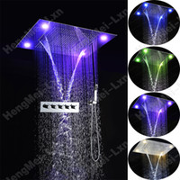 bathroom sets with shower curtain - Luxury bathroom shower mm multi function rainfall waterfall water curtain stainless steel square shower head with shower mixer