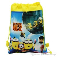 Wholesale Cartoon Minions Backpacks Drawstring Despicable Me The Avengers Princess Mouse Children School Bag Baby Kids Non Woven