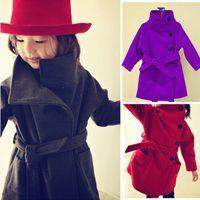 Wholesale 2016 Spring Autumn Girls Wool Winter Coats Winter Jacket And Coat Long Woolen Children s Windbreaker Children Jackets And Outwear