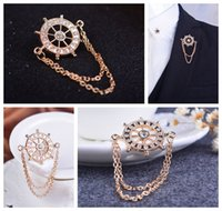 anchor trinkets - New Korean navy wind rudder diamond corsage brooch shirt collar pin brooch suit unisex personalized trinkets