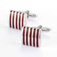 Wholesale Mens Accessories Sets Red Stripe Enamel Jewelry dozen Cufflink Fashion jewelry made in china Jewelry making supplies