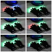 Wholesale Party LED Gloves Rave Light Flashing Finger Lighting Glow Mittens Magic Black Gloves Party Accessory