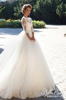 Wholesale Vintage Pearls Lace Long Sleeves Ball Gown Wedding Dresses Sheer Bateau Neckline Chapel Train Bridal Gowns with Covered Buttons
