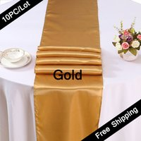 banquet table cloths - PC Table Runner Satin Table Runners for Wedding X108 inch Satin Ribbon Cloth Table Runner Flag of Wedding Banquet Decors