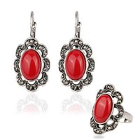 antique ruby rings - Antique Silver Earrings Ring Women Fine Jewelry Set Alloy Turkish Ethnic Fashion Accessories Red Ruby Resin Stone