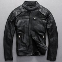 Wholesale 2016 New Mens Black Stand Collar Leather Motorcycle Jacket Slim Fit Genuine Cowhide Short Men Winter Biker Coat Factory Direct