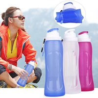 Wholesale Portable ml Outdoor Folding Bottles Silicone Travel Sport Hiking Cup Convenient Camping Kettle Heat resisting Sealing Up