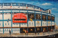 baseball field sizes - Chicago Cubs Wrigley Field Baseball Stadium Pure Handicrafts Impressionist Art oil painting On High Quality Canvas in custom sizes