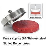 Wholesale Hot Stainless steel Hamburger press Meatloaf Stuffed Burger press Pizza Hamburger Patties Sandwich Maker Burger Mold Tool
