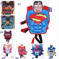 Wholesale 13 styles Baby Life Jacket Vest Batman Superman Spiderman Princess KT Mickey Drifting Vest Catoon Kids Life Vest Rafting Life Jackets