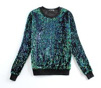 Wholesale 2016 Autumn Winter Designer Fashion Women Hoodies Round Neck Brand Sequined Beading Gold Green Sweatshirts Pullover Plus Size xxl