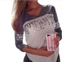 Wholesale 2016 Autumn Fashion Women Sweatshirt Knitted quot Pink quot Letter Print bts Vs pink Sequins Hoodies V neck Pullovers Harajuku patchwork Tops