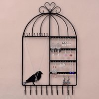 beverage showcase - Hot Wall Mount Birdcage Shaped Earrings Necklace Bracelet Stand Holder Hanger Organizer Neck Jewelry Easel Showcase Display