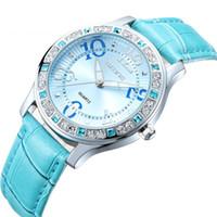 Precio de Relojes de pulsera piezas-10 piezas de lujo SKONE moda para mujer relojes PU correa de cuero elegante individual cristal impermeable relojes para las damas