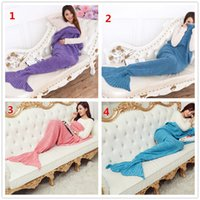 Wholesale Mermaid Tail Blanket Super Soft Hand Crocheted cartoon Sofa Blanket air condition blanket siesta blanket X90cm A013