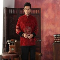 age red coat - High Quality Red Chinese Tradition Middle aged Men s Jacket Long sleeve Embroider Dragon Coat Tang Suit S M L XL XXL XXXL