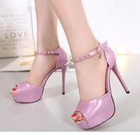 talon haut bride à la cheville peep toe chaussures sexy mariage rose argent taille 34 à 39