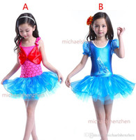 Wholesale Girl Mermaid Crystal shoes Lace Dress DHL Children Cinderella fish scale Short sleeve princess dresses cosplay clothes B