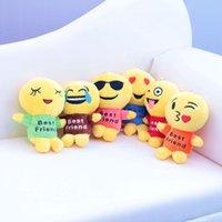best friends keychains - 2016 Newest QQ Expression Emoji Smiley Plush Doll Keychains Cute Cartoon Plush Pendant Keychains Best Friend