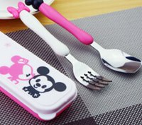 baby spoon stainless - Baby Tableware Stainless Steel Spoon Fork Dinnerware Set Children Gift Tableware Cartoon Mouse Kids Fork Spoon