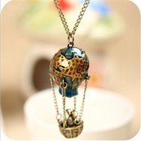 balloons singapore - Dreamer Retro Colorful Hot Air Balloon Chains Long Sweater Chain Necklaces Charm Necklace Fashion Personalized Jewelry jy797