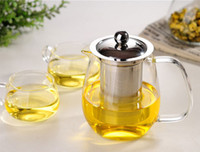 Wholesale heat resistant glass crystal tea pot With stainless steel infuser filter flower tea sets custom made