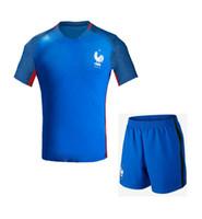 football set - Football Uniform Set Maillot de foot France Euro Away Home Soccer jersey White Blue football Survetement Hot Selling
