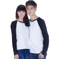 Wholesale Custom made hip hop raglan long sleeve plain white t shirt top baseball blank tshirts for unisex men and women