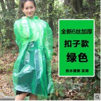 Wholesale The new material sets the first button outdoor disposable raincoat thick poncho climbing transparent transparent drawstring