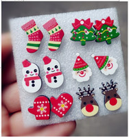 animal earring tree - Fashion Cute Small Acrylic Sock Snowman Santa elk Christmas Tree Stud Earrings Punk Night Club Jewelry Accessories