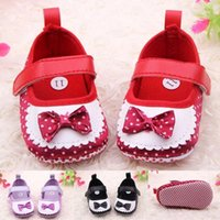 Wholesale Hot Cute Lovely Princess Bow Strap Polka Dot Textil Infant Baby Shoes first walker baby girl shoes
