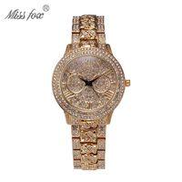 analog electronics - 2016 Miss Fox Fashion Original Design Ladies Wristwatch Perspective Luxury Diamond Quartz Watches Waterproof Electronic Watch Round Watch