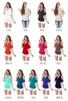 Wholesale V Neck Sexy T Shirt Solid Color Fold Off Shoulder T Shirt Womans Clothing with Low Cut for EU US Ladies TM1050