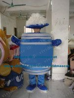 beer barrel sizes - Pretty Blue Beer Bucket Barrel Pail Drum Cask Mascot Costume Cartoon Character Mascotte Adult White Stripes Body ZZ674 Free Ship