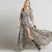 Wholesale 2016 Summer Sexy Women Leopard Print Dress Maxi Long V Sleeve Half Sleeve High Slit Womens Beach Dresses Floor Length
