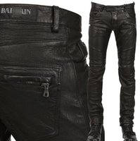 Wholesale Man Balmain Jeans Pu Leather Classic Slim Fit Paris Kanye West Balmain Biker Jeans Original Quality Real Photos