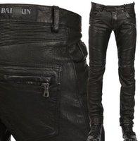 slim fit jeans - Man Balmain Jeans Pu Leather Classic Slim Fit Paris Kanye West Balmain Biker Jeans Original Quality Real Photos