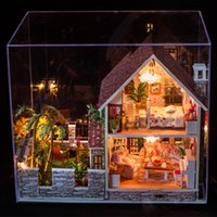 Wholesale 3D DIY wooden Handcraft Miniature Dollhouse Voice activated LED light Music with cover doll house child toys model kits