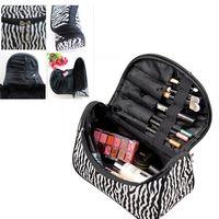 Wholesale New Zebra Stripe Beautycase Portable Waterproof Women Designer Cosmetic Makeup Bag Storage Pouch Organizer Box Make Up