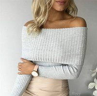 Cheap Julissa Mo Knitted Sweater Women 2016 Autumn Winter Off Shoulder Tops Casual Jumper Sexy Pull Femme Slim Short Pullover