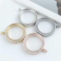 Wholesale Trendy Round Crystal Pendant Silver Rhinestone Floating locket Memory Living Locket Necklace