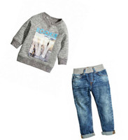 baby clothes ny - 6SET Fashion Baby Boy Clothes Sets Kids Autumn NY Long Sleeve Cotton Sweater Denim Jeans Pants Boys Clothing Set Casual Outfits