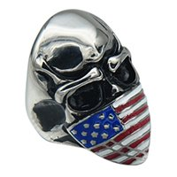 african masks sale - Hot Sale Special European Stainless Steel Ring Vintage Domineering American Flag Mask Skeleton Head Ring Punk Jewelry Fashion Accessories