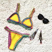 Wholesale 2016 New Pattern Bikini European Sandy Beach Hot Spring Manual Weave Ma am Fission Swimming Suit quality products Mid Waist Swimwear