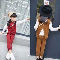 bag shirt - Spring Autumn Girls cartoon waistcoat Vest White long sleeve T shirt casual pants Messenger Bag set Children Suit Outfits Lovekiss C29463